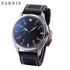 47mm Parnis Hand Winding Movement Men Watch Stainless Steel Case Small Second