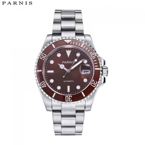 40mm Parnis Luxury Mechanical Watches Casual Fashion Automatic Watch Men Rotating Ceramic Bezel Stainless Steel Band