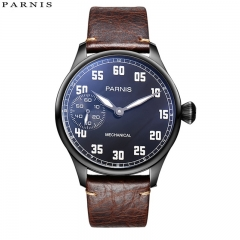 44mm Parnis Hand Winding Movement Mechanical Mens Boy Vintage Watch Small Second