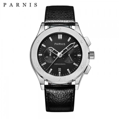 Parnis Men's Chronograph Wristwatch 5ATM Waterproof Japan Movement Leather Strap