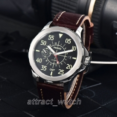 44mm Parnis Red GMT Luminous No. Mens Military Watch Sapphire Date Small Second