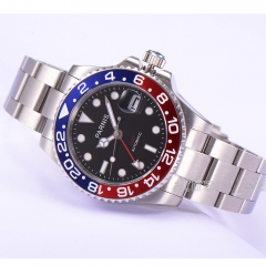 40mm Parnis Sapphire GMT Automatic Movement Men's Boy Watch Luminous Marker Date