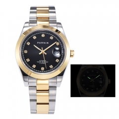 Panirs 39.5mm Glatte Lünette Elegantes Diamantzifferblatt Miyota Automatic Men Wristwatch